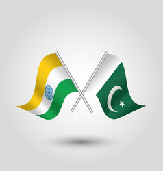 Two crossed indian and pakistani flags vector