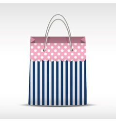 Vintage shopping bag in stripes texture vector image