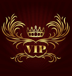 vip card design with golden crown vector image