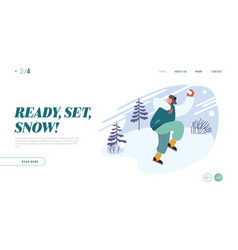 wintertime relaxing active spare time website vector image