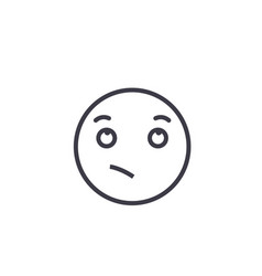 wistful emoji concept line editable vector image