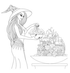 Witch preparing vector