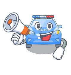 with megaphone police car on a cartoon roadside vector image
