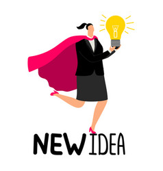 woman in superhero cloak with light bulb - new vector image