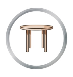 Wooden round table icon in cartoon style isolated vector