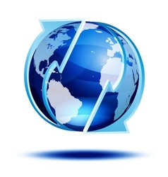 Blue globe with arrows vector image vector image