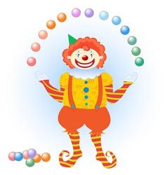 clown juggling colorful balls vector image