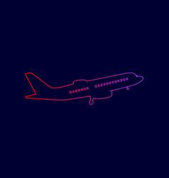 flying plane sign side view line icon vector image