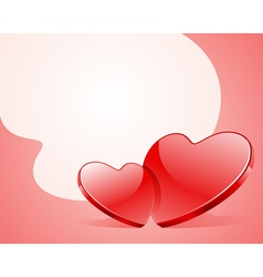 two red shiny glass hearts vector image