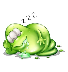 A greenslime monster sleeping vector image