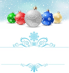 christmas balls snow pattern380 vector image