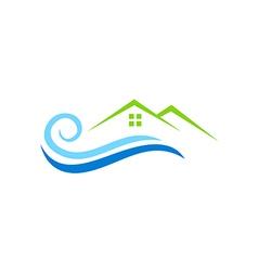house water beach abstract logo vector image