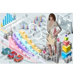 Isometric Infographic Woman Secretary Set Elements vector image vector image