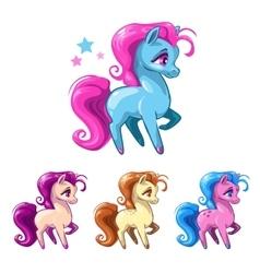 Little cartoon horses vector image