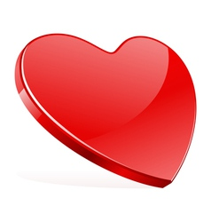 red shiny heart shape vector image vector image