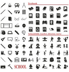 school icons on white vector image vector image