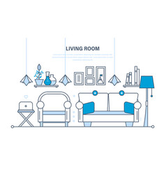 the cozy living room a for reception of gues vector image