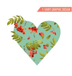 autumn t-shirt heart floral graphic rowanberry vector image