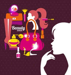 Beautiful woman silhouette with fashion icons vector image