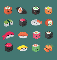 cute and fun japanese sushi cartoon vector image vector image
