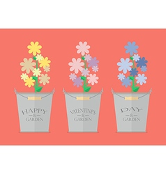Flowers in pots with word Happy Valentines Day vector image