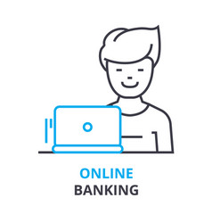 online banking concept outline icon linear sign vector image vector image