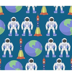 Astronaut and Earth seamless ornament background vector image vector image