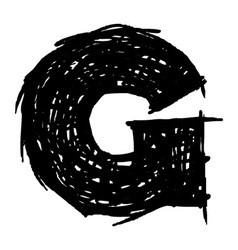 G - hand drawn character sketch font vector image vector image