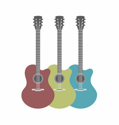 three acoustic guitars set isolated on white vector image