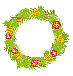tropical floral circle with pineapple and red vector image vector image
