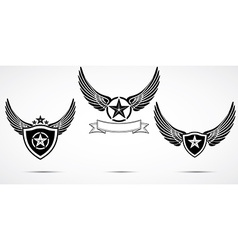 Wing abstract emblem set logo template badge label vector image