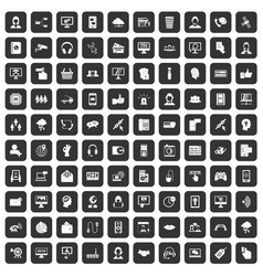 100 contact us icons set black vector