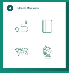 4 map icons vector