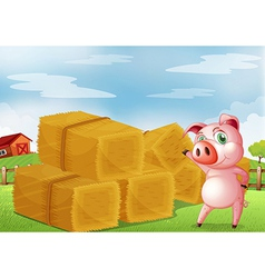 A pig pointing the farm crops vector