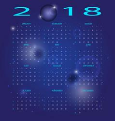 Abstract blue space 2018 calendar vector