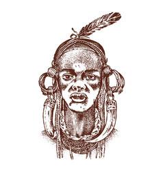 African woman portraits of aborigines in vector