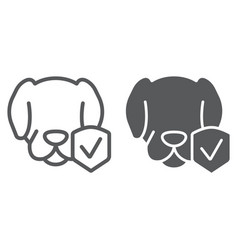 Animal insurance line and glyph icon protection vector