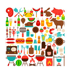 barbecue isolated objects big set vector image