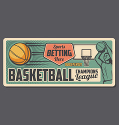 basketball sport game bets office vector image