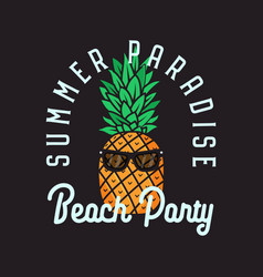 beach party emblem design on black vector image