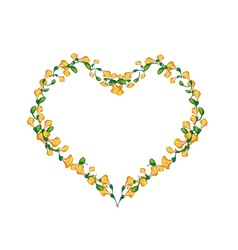 Beautiful Yellow Padauk Flowers in Heart Shape vector image