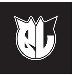 bl logo monogram with horn shape style design vector image