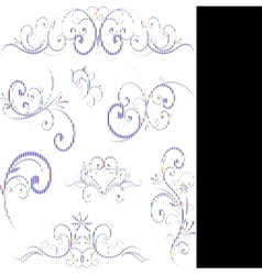 Blue swirling flourishes floral elements vector