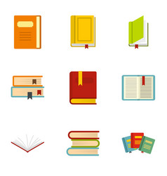 books icons set flat style vector image