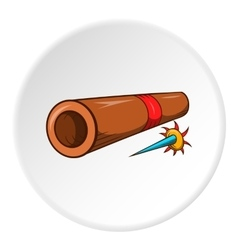 Brass tube with darts icon cartoon style vector image