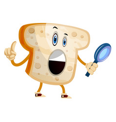 bread with magnifying glass on white background vector image