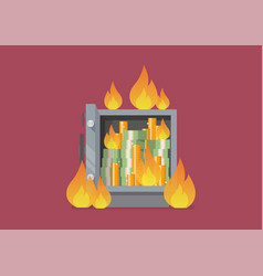 burning security metal safe vector image