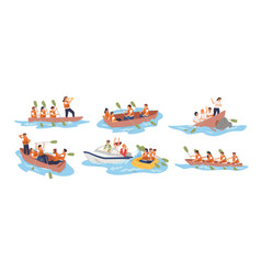 Business team in boat set vector