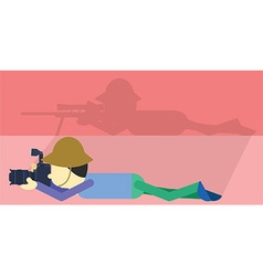 Camera and sniper flat design vector