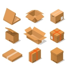 Cardboard Boxes Set Isometric View vector